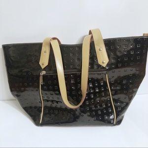 Arcadia Italian Black Patent Leather Large Bag